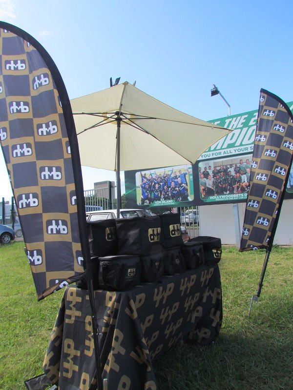 Cricket stand hospitality branding banners